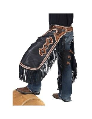 Tough-1 Western Chinks Mens Smooth Leather Adjustable Black 63-940