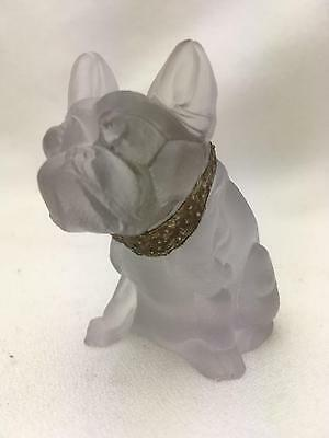 Antique Camphour ? Glass Bulldog Figurine Frenchie? Adorable w Gold Collar