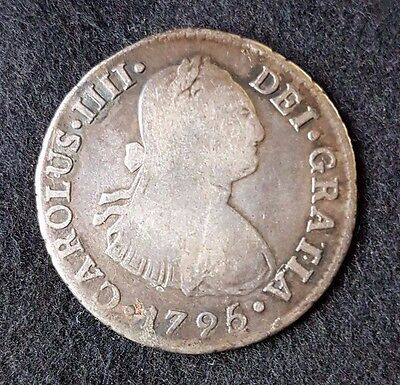 Spanish Colonial milled coin Lima 2 reales bust, Charles IIII 1796 IJ - MI#
