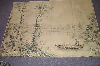 French Wall Hanging Tapestry  Vintage Antique 42x55 D' Apres Corot