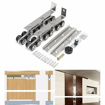 2Pcs/Set Hanging Sliding Wooden Door Wheels Closet Hangers Roller Hardware Kit