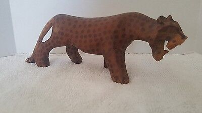 Vintage Leopard Figure Wood Carved