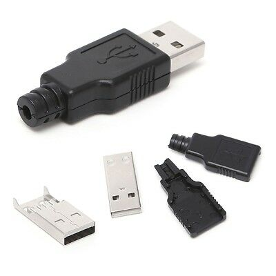 10Pc USB2.0 Type-A Male Plug 4-pin Socket Connector Adapter Plastic Cover DIY