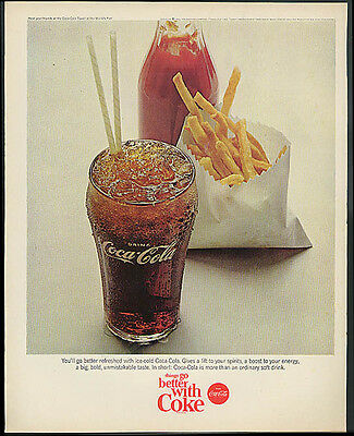 You'll go better refreshed with ice-cold Coca-Cola ad 1965 french fries ketchup