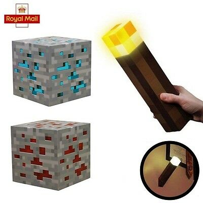Minecraft Diamond Light Night Up Lamp Redstone Ore Cube Blue/Red Gift Toy UK
