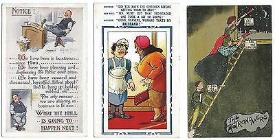 Early Comic Postcards. Three Different  Comic Postcards, Good Used