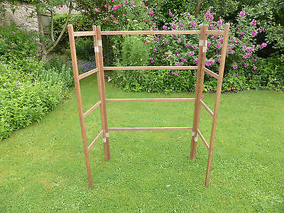 Vintage Pine Clothes Airer. 3 Sections with Webbing Hinges.
