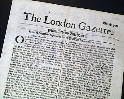 Very EARLY Rare 17th Century 343 Years Old LONDON GAZETTE England 1674 Newspaper
