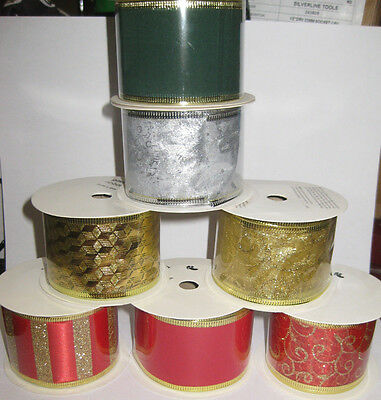 Christmas Ribbon 4M Red Green Silver Gold Glitter Presents Sparkle Gift Wrap New
