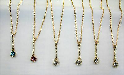 Wholesale Jewelry 12 PCS Crystal Stone Charm Necklaces  # 1233 Gold Silver Mix