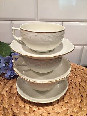 3 Teacups and Saucers Rosenthal Sanssouci Classic Ivory Gold Trim