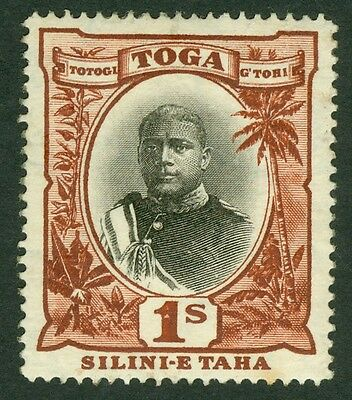 SG 50a Tonga 1/- variety no hyphen before 'Taha'. A fresh mounted mint example..