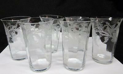 6 TIFFIN crystal SPECIAL THISTLE Etched JUICE TUMBLERS w Optic