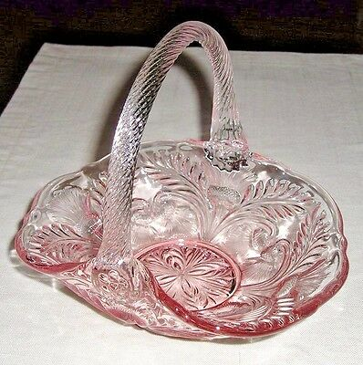 Mosser Glass INVERTED THISTLE BASKET Pink & Crystal Made in USA NEW!