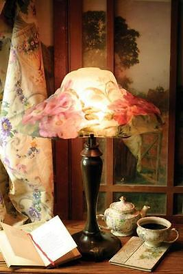 Victorian Pairpoint Style Reverse Painted Shade Floral Puffy Lamp Reprod NEW