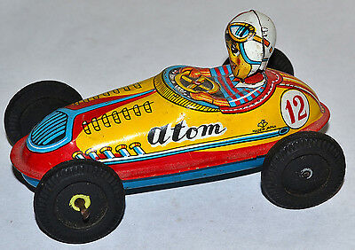 """Vintage 1950's Stamped Made In Japan """"atom"""" #12 Tin Litho Friction Race Car"""