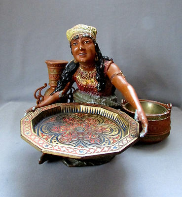 ANTIQUE Cast Metal SPELTER Polychrome GYPSY GIRL with TRAY circa 1900