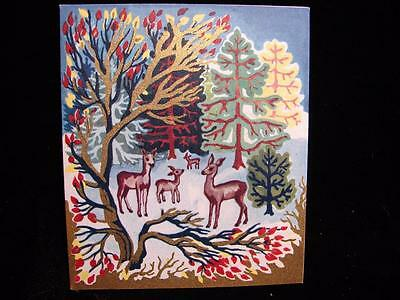 """Vintage """"deer In The Colorful Forest - Manville!!"""" Christmas Greeting Card"""