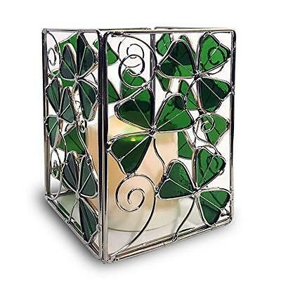 Shamrock Candle Holder with a LED Candle - Stained Glass Shamrocks and a New