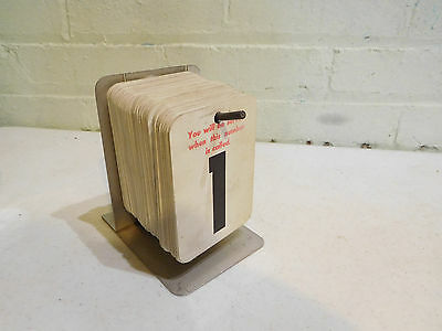 Vintage Waiting Number Ticket Card System 1-100 and Metal Stand Store Line