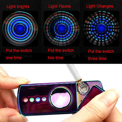 LED Flash EDC USB Charge Anti Stress Gyro Electric Lighter Hand Spinner Fidget