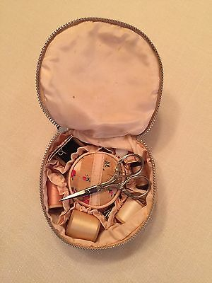 Vintage Small Sewing Kit ~ Satiny Fabric ~ Antique ~ Collectible Vanity