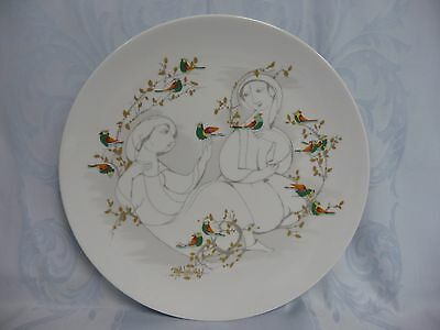 VINTAGE 1950's ROSENTHAL CHARGER WALL PLATE w/COLORFUL BIRDS - BJORN WINBLAD
