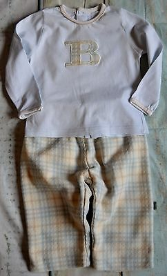 Baby Boy Designer Clothes Bundle Burberry Top Matching Wool Blend Trousers 6-9 M