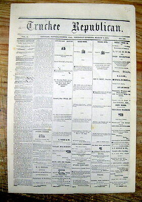 1874 TRUCKEE California newspaper VASQUEZ OUTLAW GANG rob LOS ANGELES Stagecoach