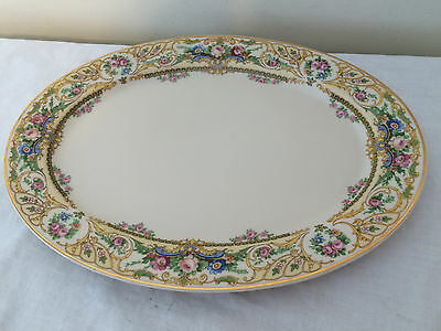 """Syracuse China O. P. Co Old Ivory  Platter Pink Roses Gold Trim 12"""""""