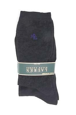New Women's Ralph Lauren Trouser Socks Black Textured Floral 2 Pack