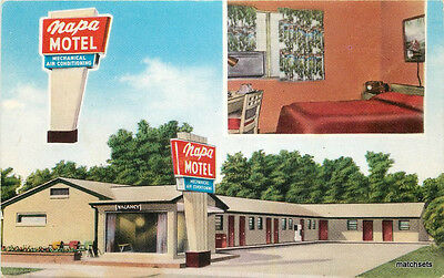 1950s WICHITA KANSAS Napa Motel MWM CO postcard 13055
