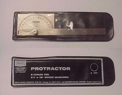 Vintage Craftsman 9-4029 Stainless Steel 0 - 180 Degree Protractor w Vinyl Pouch