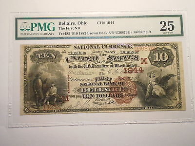 1882 Large $10 National Currency Note Bellaire Ohio Vf25 Pmg