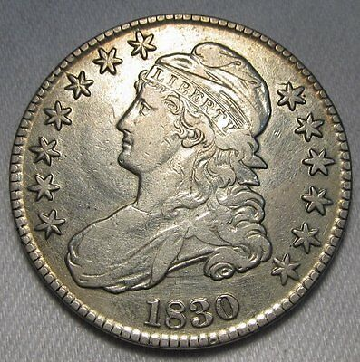 """1830 Bust Half Dollar Small """"O"""" Some Luster Remains VF+ Details AD117"""