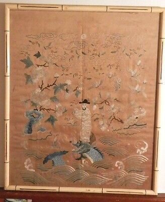 OLD ANTIQUE CHINESE Fine Folk Art Silk Embroidery Needlepoint Asian Artwork $$