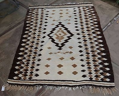 """Rare Antique Old Mexican Mayo Indian Blanket Natural Dyes 52"""" x 70"""""""