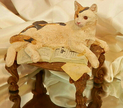 Vintage Calico Cat on a Footed Stool with Crossword and Tea Acorable Figurine B1