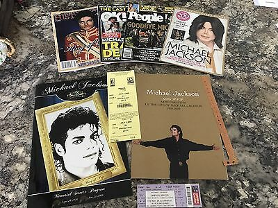Michael Jackson Funeral Programs, Wrist Band, Ticket, Parking Passes, Magazines