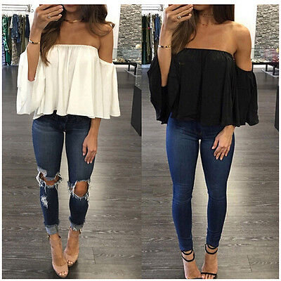 Women Off Shoulder Short Sleeve Fashion Shirt Casual Blouse Tops Loose T-shirt