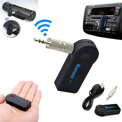 Bluetooth Wireless 3.5mm Stereo Aux Audio Music Home Car Receiver Adapter Black