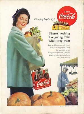Planning hospitality? Coca-Cola ad 1952 grocery shop