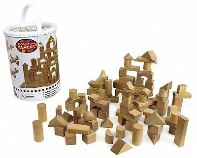Wooden Blocks - 100 Pc Wood Building Block Set With Carrying Bag And Container