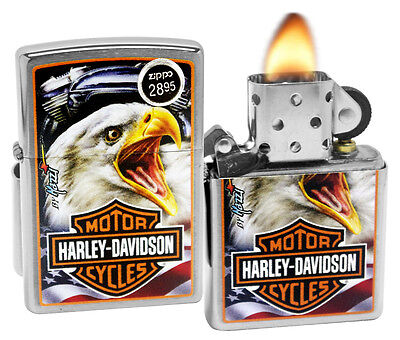 Zippo 29499 Harley Davidson Mazzi Eagle Brushed Chrome Finish Windproof Lighter