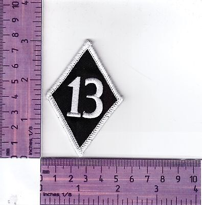 White Border 13 Diamond Bikers Embroidered Cloth Patch / Badge