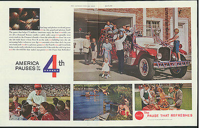 America pauses for the 4th of July Coca-Cola ad 1959 fire station baseball