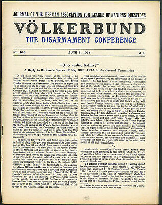 German League of Nations Union Journal Disarmament Conference 6/5 1934