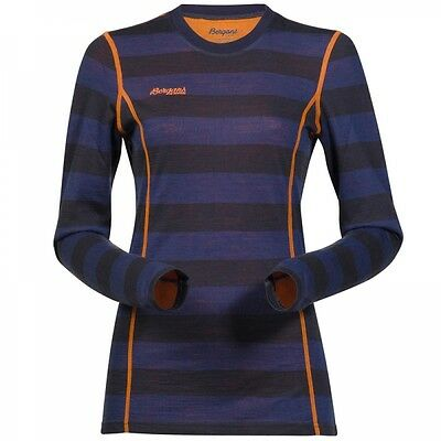 Bergans Akeleie Lady Shirt Damen Unterwäsche Longsleeve NightBlue/Striped/Pum...