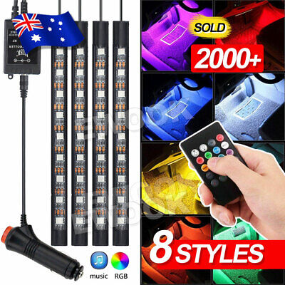 4X 12V 9LED RGB Car Interior LED Strip Lights Wireless Remote Control Music
