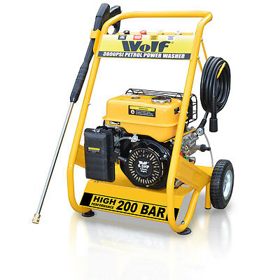 Wolf 200 BAR 3000psi 6.5HP Petrol Driven Power Pressure Jet Washer 12m Hose